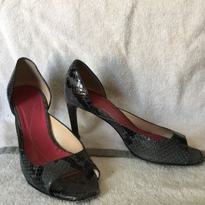 "Kate Spade python print 3"" leather heels size 5.5"